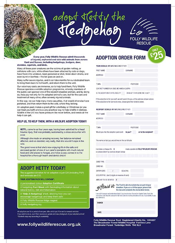 Adopt A Hedgehog PDF Form